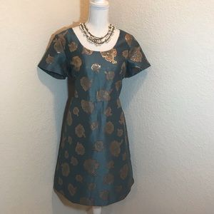 Ann Taylor Blue Gold Flower Dress